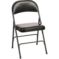 Chaise pliante LAURIE revêtement vinyl noir